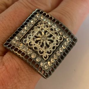 💐5/25 large square crystal bling statement ring